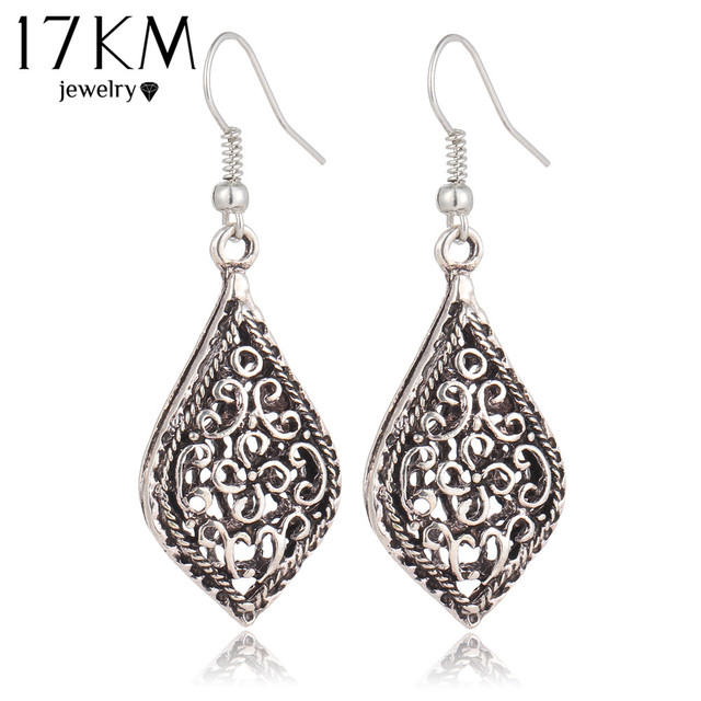 17KM Brand Big Vintage Water Drop Earrings for Women Fashion Kendra Hollow Out T