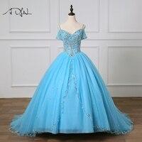 ADLN vestidos de 15 anos пышное платье тюль бальное платье Кристаллы бисера синий Sweet 16 Baljurken 15 индивидуальный заказ платье