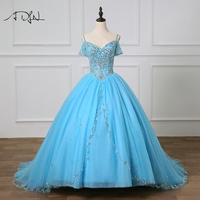 ADLN vestidos de 15 anos Quinceanera Dresses Tulle Ball Gown Crystals Beaded Blue Sweet 16 Baljurken 15 Custom Made Dress