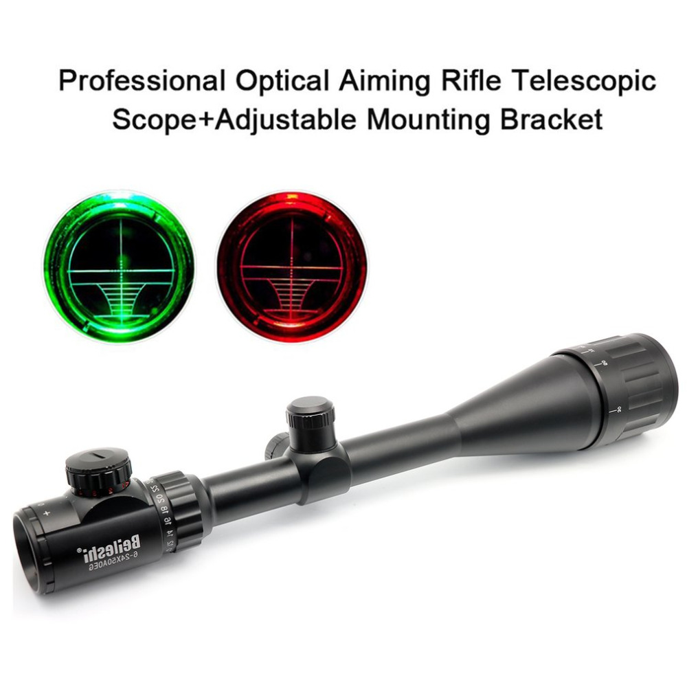 Beileshi Optical Aiming Rifle Telescopic Scope Outdoor Hunting Riflescope 6-24x50 + Adjustable Mounting Bracket Hot Sale optical sight leapers 6 24x50 riflescope hunting aim outdoor jacht taveling leapers rifle scope pneumatic for hunting