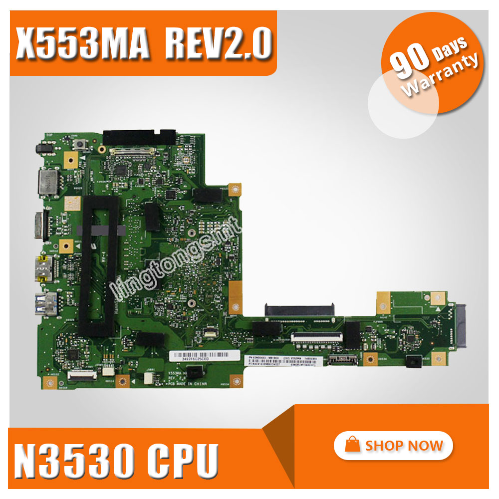 FOR ASUS Motherboard A553M A553MA D553M F553M F553MA K553M X503M X503MA F503MA X553M X553MA REV2.0 N3530U Mainboard Tested ok клавиатура topon top 100495 для asus x553m x553ma k553m k553ma f553m f553ma black