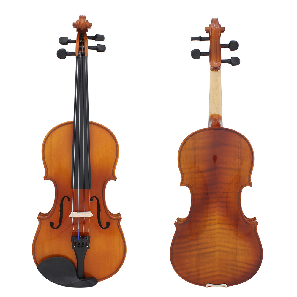Full Size 4/4 Violin Natural Acoustic Solid Wood Spruce Flame Maple Veneer Violin Fiddle for Beginner with Case Rosin Wiper