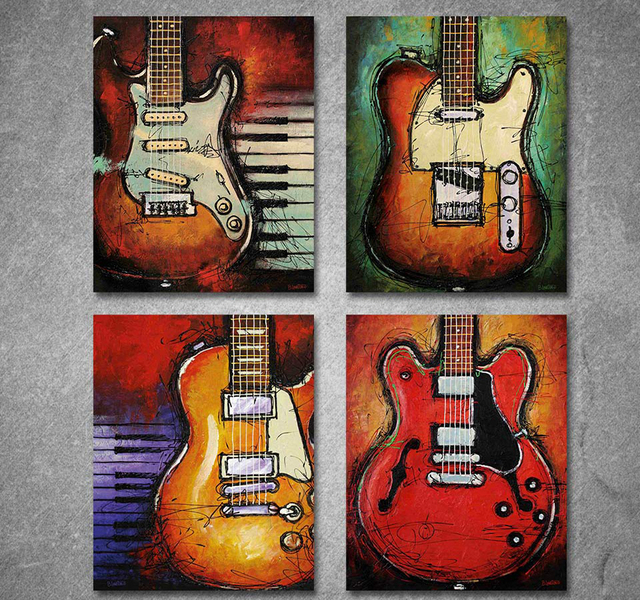 4 Panels Print Canvas Art Music Guitar Oil Painting On Home Decor Wall Pictures