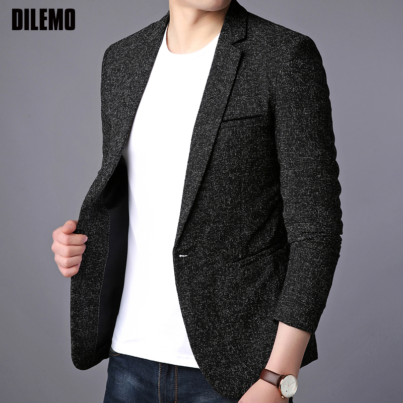 2020 New Fashion Brand Blazer Jacket Men Single Button Slim Fit Suit Coat Korean Casual Black Dress Jacket Party Men Clothes