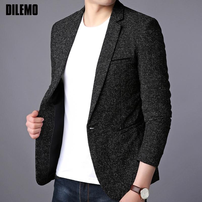 2020 New Fashion Brand Blazer Jacket Men Single Button Slim Fit Suit Coat Korean Casual Black Dress Jacket Party Men Clothes