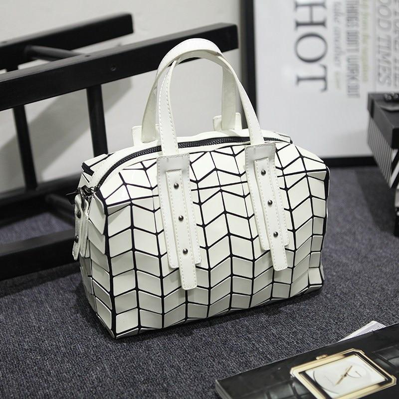 Famous Brands Women BaoBao Bag Geometry Sequins Mirror Saser Folding Bags Luminous Handbags PU Casual Shoulder Crossbody pack