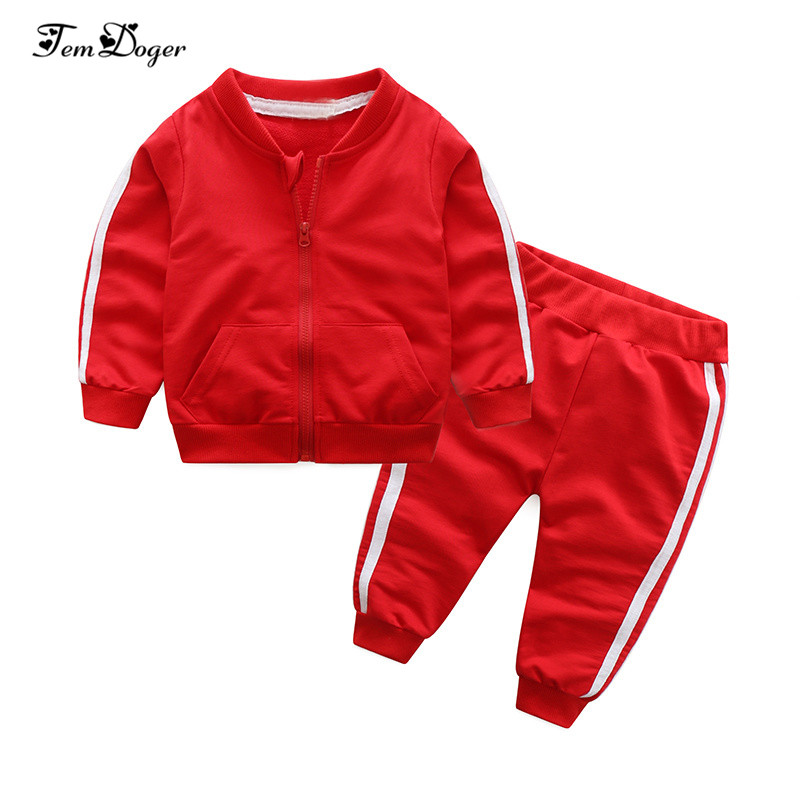 2018 autumn fashion baby girl clothes cotton long sleeve solid zipper jacket+pants 2pcs bebes tracksuit baby boy clothing set(China)