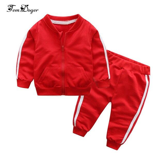 2018 סתיו אופנה תינוקת בגדי כותנה ארוך שרוול מוצק רוכסן מעיל + מכנסיים 2 pcs bebes אימונית תינוק ילד בגדי סט
