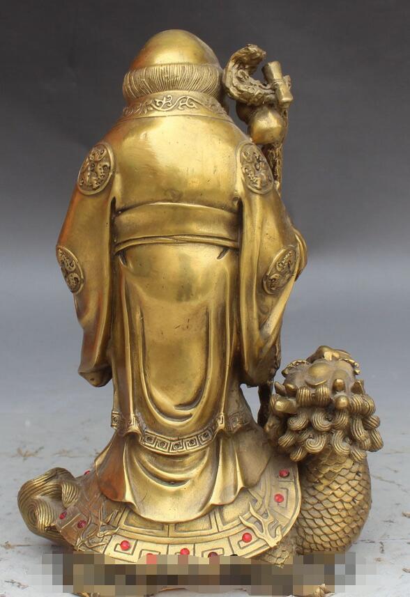 Chinois longue vie Shou Xing Shou dieu Stand Dragon tortue Statue - 4