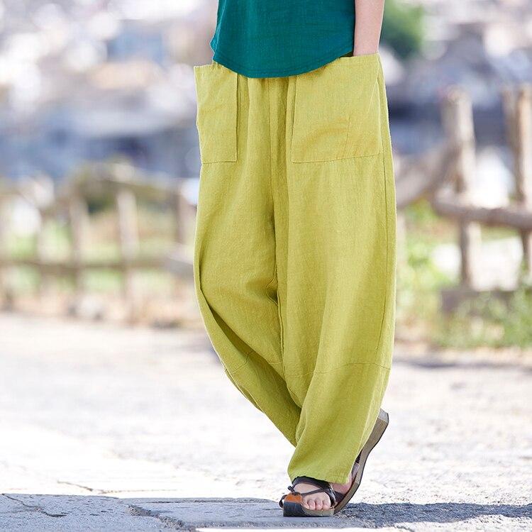 Women's Pants With Pockets 2018 Spring Summer Plus Loose Cotton Linen Trouser Original Retro Women's Soft Solid Wide Leg Pants