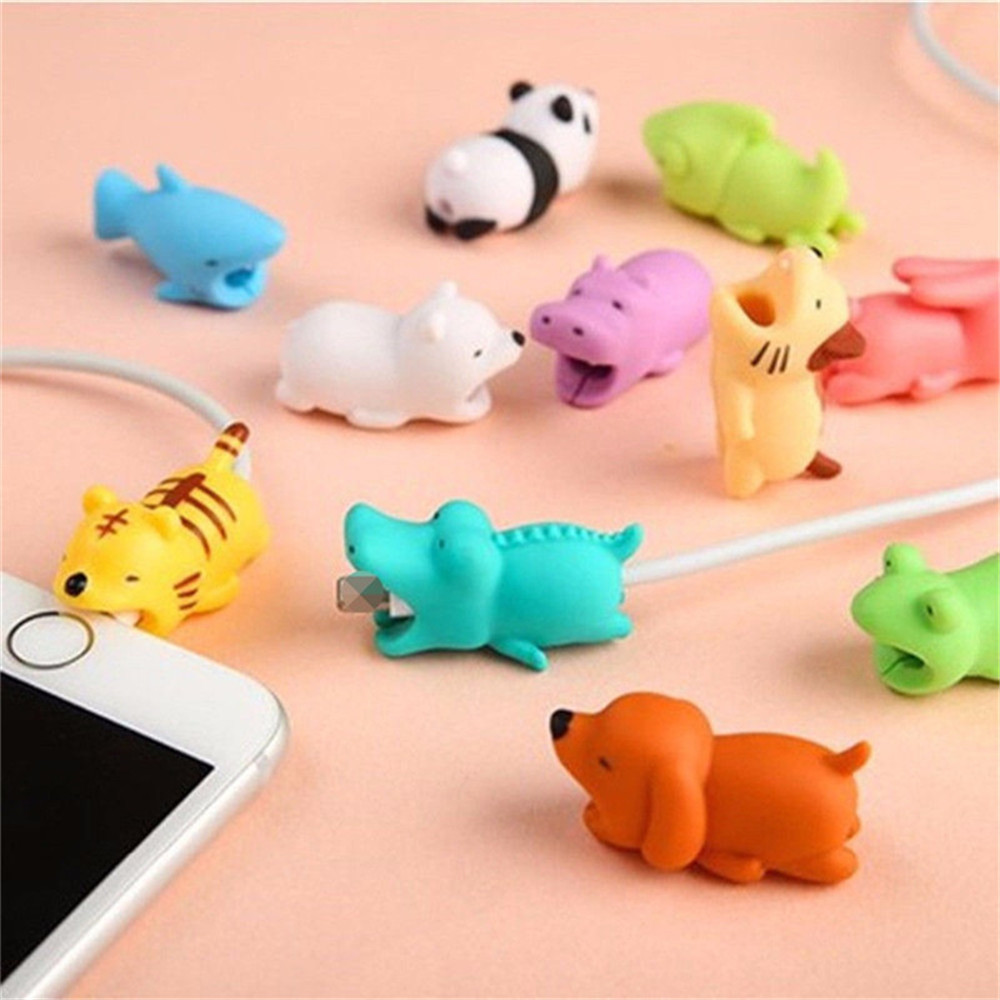 Data Cable Protection Sleeve Cable Winder Cute Animal Bite Cable Protector For IPhone Panda Bites Doll Model Holder Cable Winder