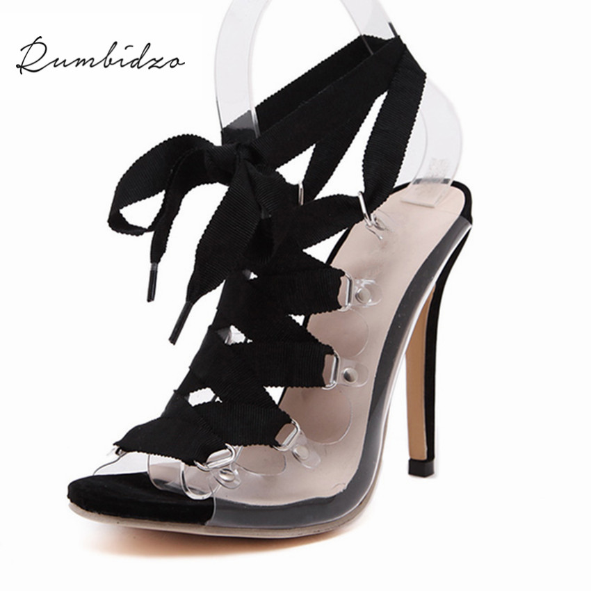 Rumbidzo Fashion Sexy High Heels Open Peep Toe Sandals Lace Up Shoes Woman Ladies Pumps Gladiator Sandals Women Zapatos Mujer new 2015 fashion lace up women pumps summer ladies high heels shoes sandals casual gladiator sandals women shoes ladies