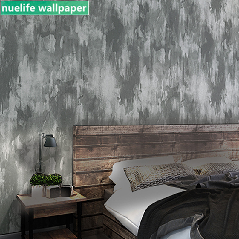 Retro Style Gray Cement Pattern Non-woven Wallpaper Hotel Clothing Store Office Living Room Bedroom TV Sofa Background Wallpaper