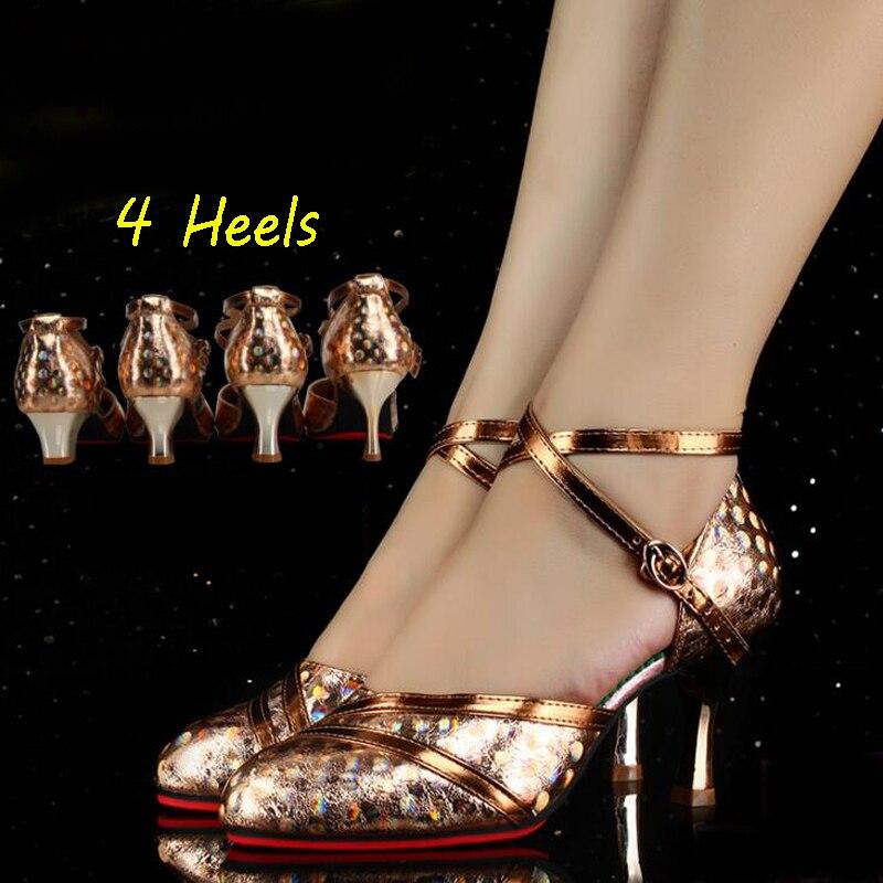Glitter Closed Toe Dance Shoes Woman Salsa Dance Shoes Ladies Professional Modern Ballroom Samba Tango Salsa Latin Dance Shoes