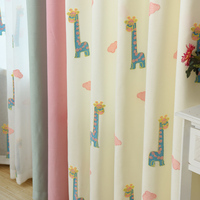Cute Cartoon Curtains For Kids Bedroom Living Room Children Baby Boy Girls Room Nursery Curtains Beige