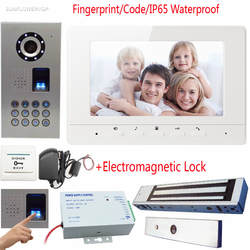 """Отпечатков пальцев/код домофон видеотелефон IP65 Водонепроницаемый Дверные звонки с Камера 7 """"Цвет Экраны с магнитной электронный замок"""
