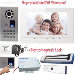 """Отпечатков пальцев/код домофон видеофон IP65 Водонепроницаемый дверной звонок с Камера 7 """"Цвет экраны с набор намагниченных насадок замок"""