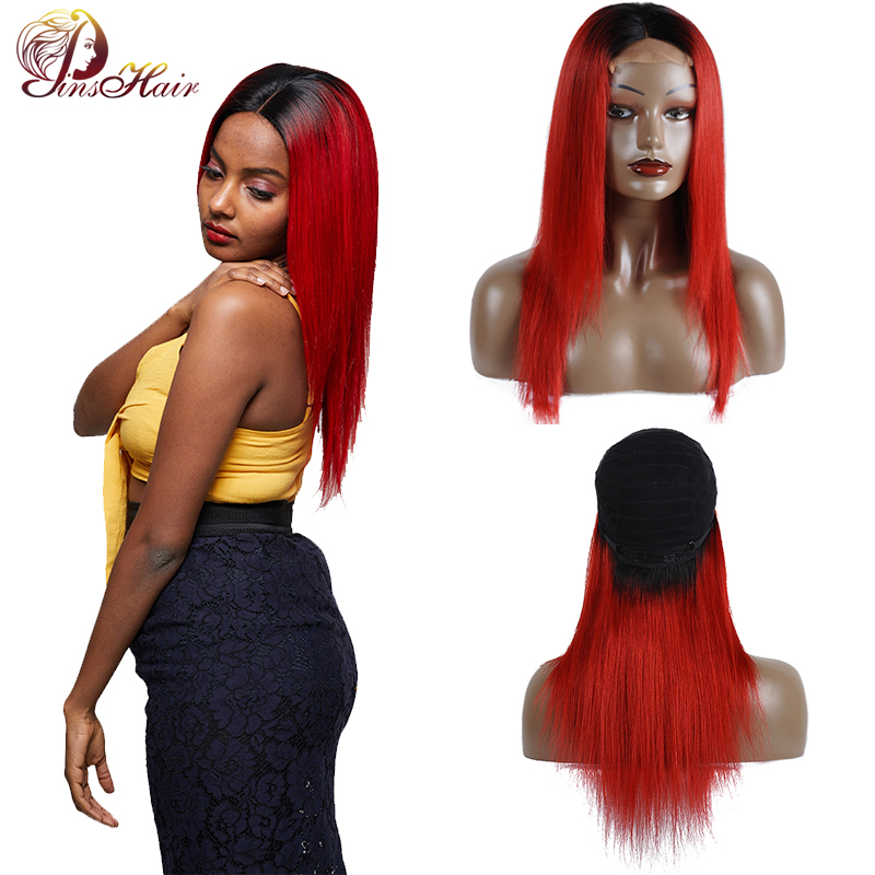 Brazilian Ombre 1B Red Hair 14 32Inch Straight Lace Front 4 4 Closure Wig 100 Human
