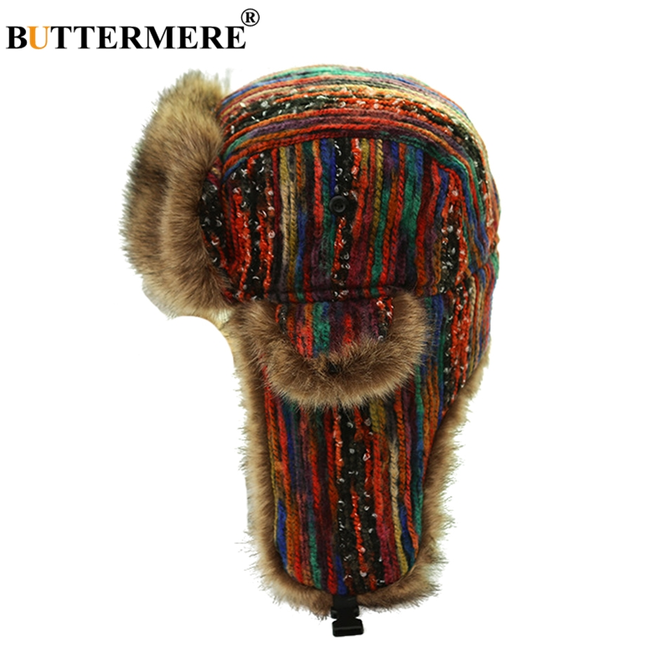 BUTTERMERE Russian Ushanka Hats With Earflap Women Colorful Bomber Hats Ladies Windproof Snow Thicker Warm Winter Fur Caps 2019