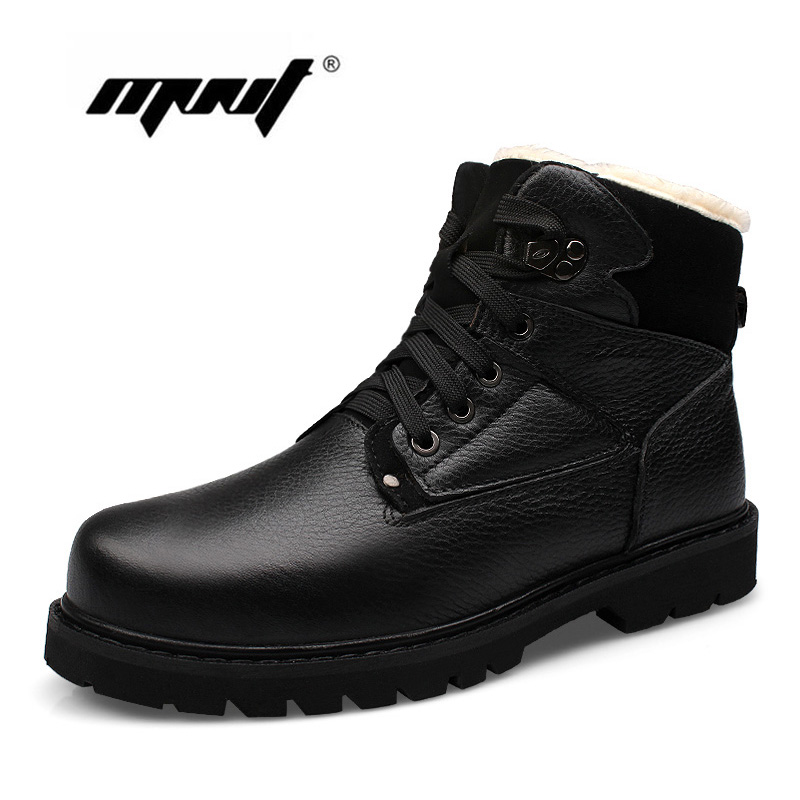 Plus Size Men Boots Shoes Genuine Leather Warm Warm Fur Plush Snow Boots Outdoor Men Ankle