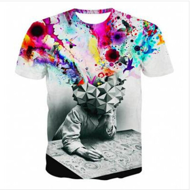 S-3XL Funny 3D T-Shirts Men Cloud Clown Print Tshirt Fashion O Neck Tee Top Men And Women Short Sleeve T-Shirt