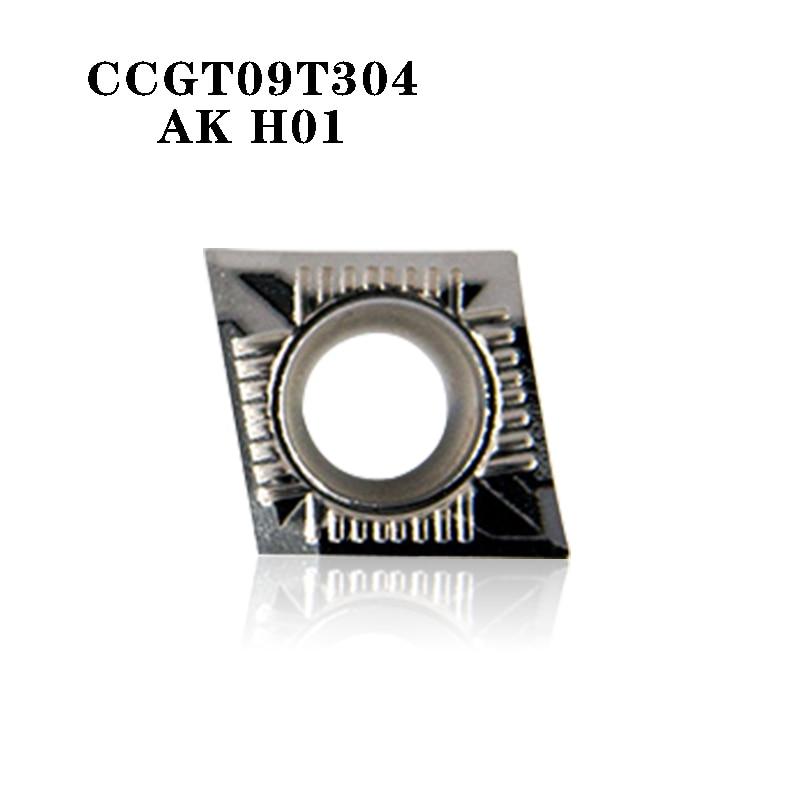 CCGT09T304 AK H01 CCGT 09T304 Aluminum Cutter Blade Insert Cutting Tool Turning Tool CNC Tools AL +TIN Alloy Wood