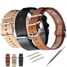 New 18 20 22 24mm Zulu Genuine Leather Rough Hand  Military Watch Strap Band For Nato Watchband Belt все цены