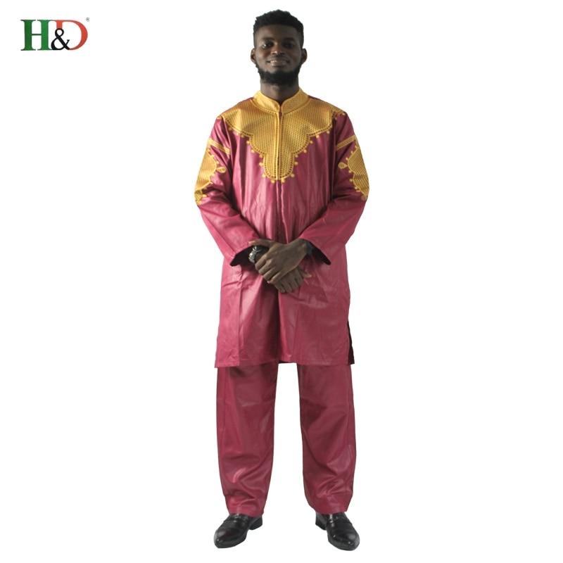 H&D African mens clothing traditional zipper riche africano hombres camisa con pantalones bordado camiseta pantalones dashiki