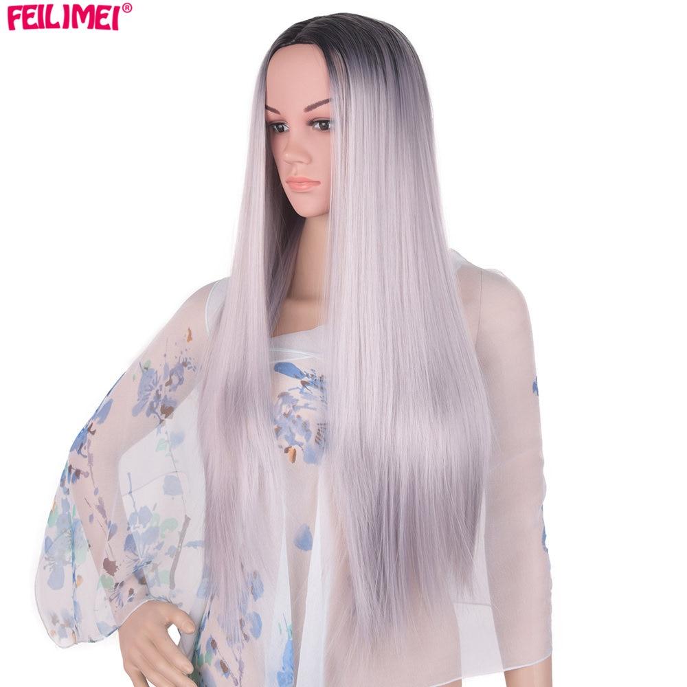 Feilimei Ombre Grey Wig Syntetisk Japansk Fiber 60cm 280g Lång - Syntetiskt hår - Foto 2