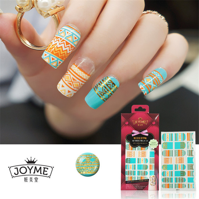 New Wave Design Nail Art Sticker Cute Full Cover Multicolor Nails Strips  Girl Decorations Nail Accessories - New Wave Design Nail Art Sticker Cute Full Cover Multicolor Nails
