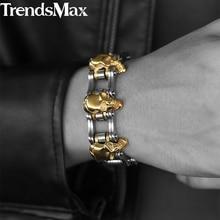 Trendsmax Bracelet crâne pour hommes, 22cm, accessoire en acier inoxydable 316L avec maillons à vélo, bijoux pour hommes, vente en gros, livraison directe, HBM66,