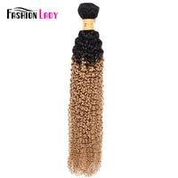 Fashion Lady Pre Colored Blonde Brazilian Hair Bundles 1b/27 Two Tone Bundles Curly Blonde Human Hair Weaving 1 Piece Non remy