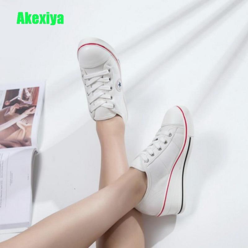 2018 Autumn White Women Sneakers Plus Size 41 42 Platform Wedge Shoes Vulcanized Shoes Woman Lace Up Female Casual Canvas Shoes