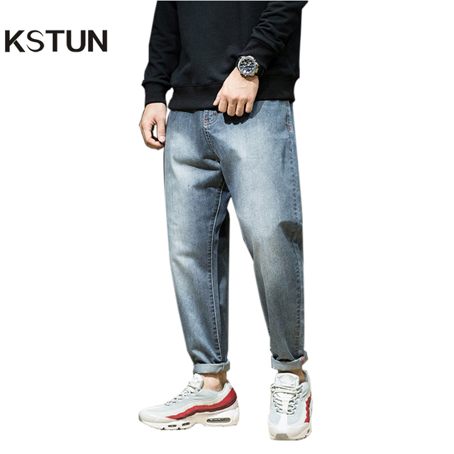 KSTUN Men Harem Pants brand 2018 Jeans Casual Trousers Men Joggers Washed Tapered Baggy Loose fit Men's Clothing Pure Retro Blue