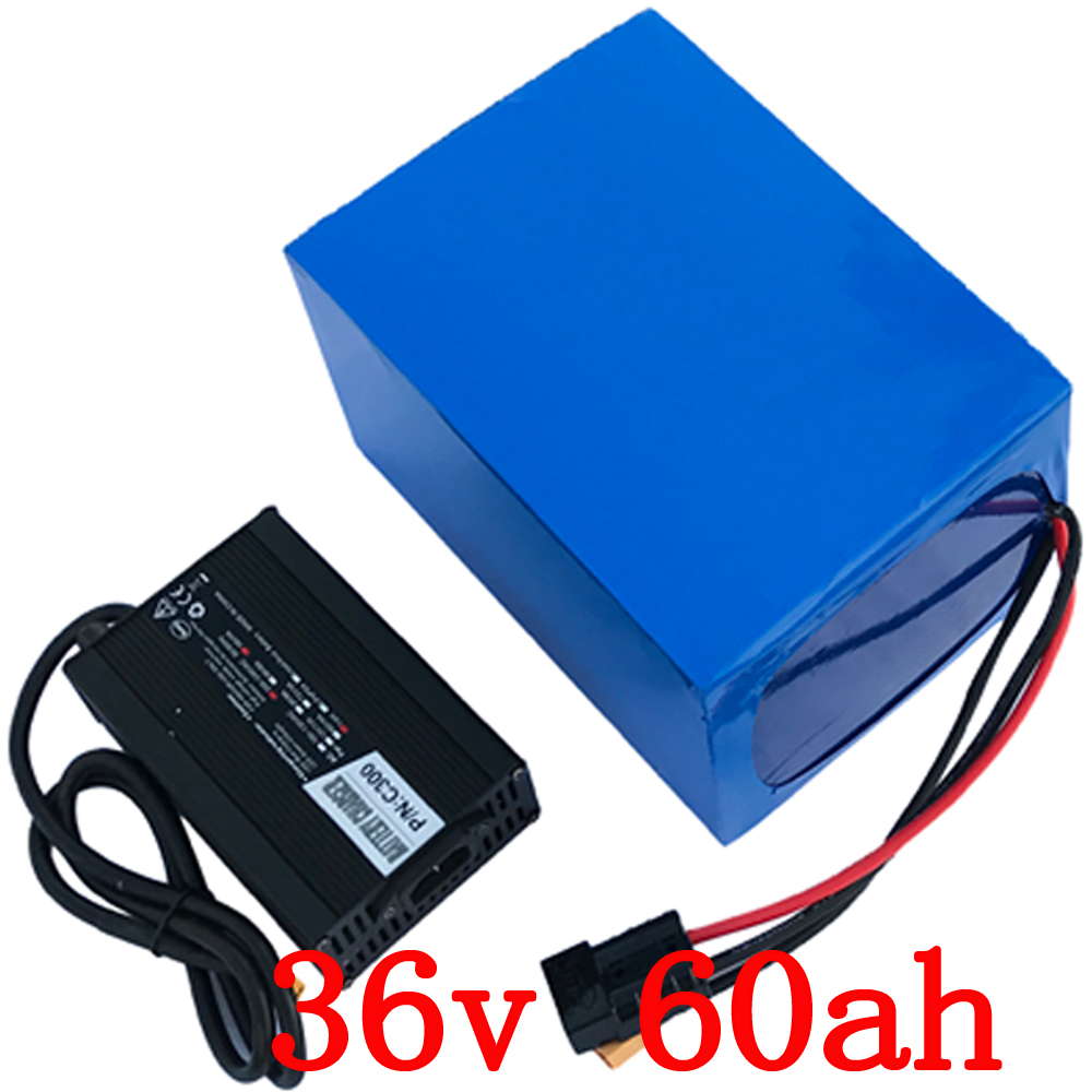 36v 1500w battery 36v 60ah electric bicycle battery 36v 60ah Lithium ion battery pack with 50A BMS+42V 5A charger free shipping