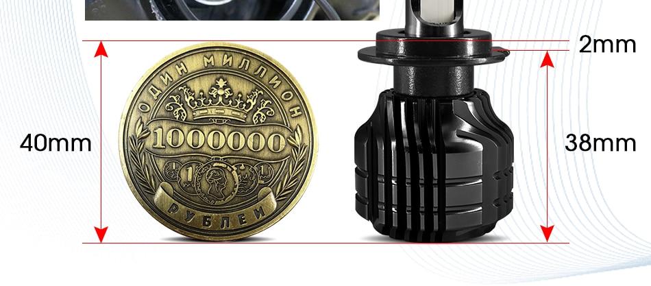 HLXG 2Pcs 9000LM H4 led 4300K Yellowish CSP Chips H11 H8 LED H7 H1 H3 52W 9000LMset 9005 HB3 9006 HB4 Bulbs Car Headlight 6000K (8)