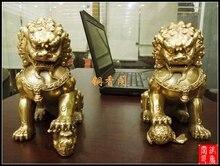 Старинные Бронзовые Искусств и Ремесел Большой чистая латунь пекин лев фэн-шуй украшения меди лев украшения