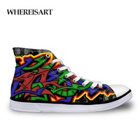 WHEREISART Outdoor Male Shoes Casual Fashion Men's High Canvas Graffiti Teen Boys Shoes Comfortable Outdoor Hip Hop Sports Teen