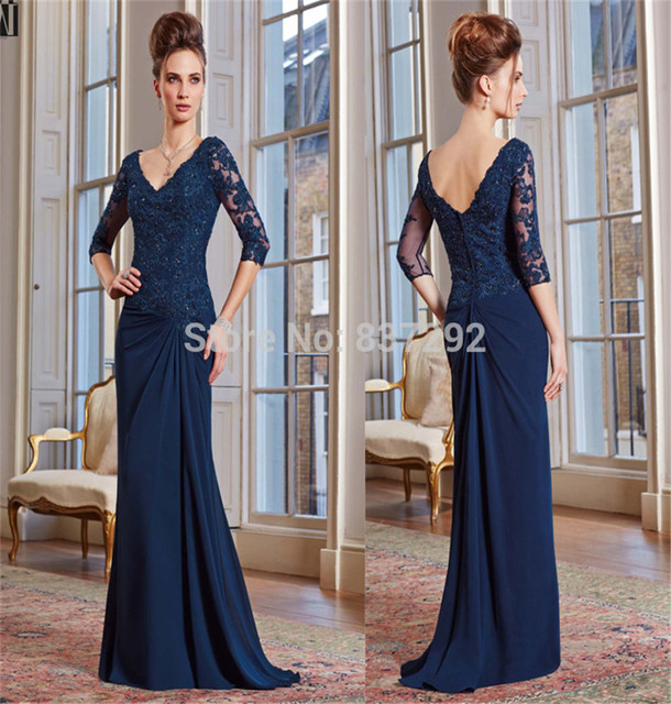 Elegant Navy Blue Plus Size Mother Of The Bride Lace Dresses Half