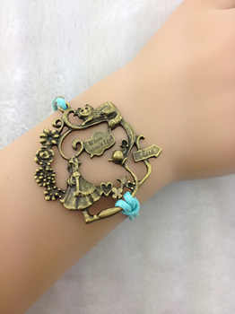 1pc Alice in Wonderland Bracelet- Antique Brass Alice, Cat, Teapot and Wonderful Branch and Flowers with Wax Cords ZA090