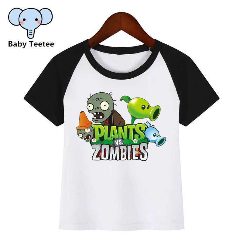 Crianças plantas vs zumbis cartoon o-pescoço t camisa camisetas verão crianças menina camiseta menino/meninas roupas