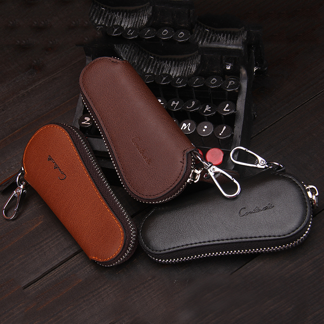 CONTACT'S Men Genuine Cow Leather Bag Car Key Wallets Fashion Women Housekeeper Holders Carteira Keychain Zipper Key Case Pouch 5