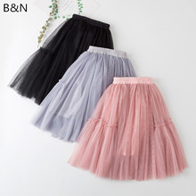2019 New Fashion Princess Midi Tulle Skirts Juniors Cuhk child Lolita Party Dance Net Gauze MIDI Tutu 3 Colors