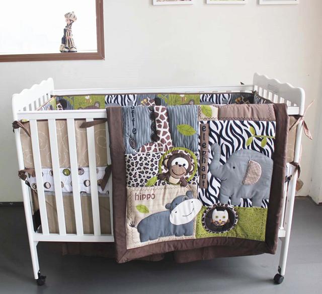 Promoção! 7 PCS bordados de algodão do bebê berço da cama conjunto ropa de cama, Incluem ( bumper + tampa + cama edredão + cama saia )