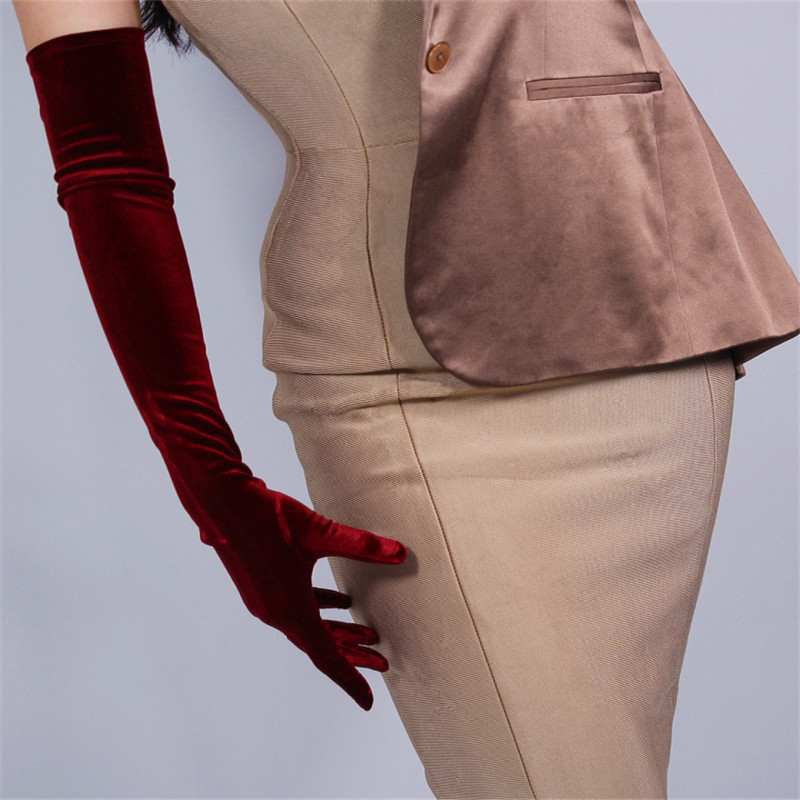 60cm Velour Gloves Extra Long Section Wine Red Over Elbow Female High Elastic Swan Velvet Gold Velour Touchscreen Woman WSR03