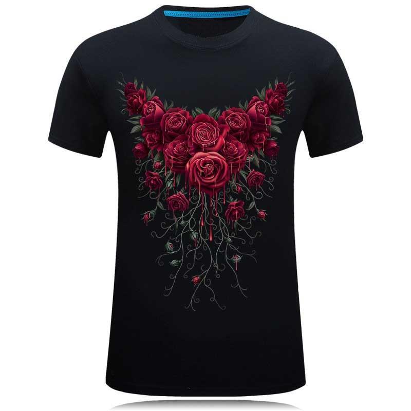 SWENEARO marka 2018 yeni t shirt adam pamuk Kısa kollu moda Güller - Erkek Giyim - Fotoğraf 2