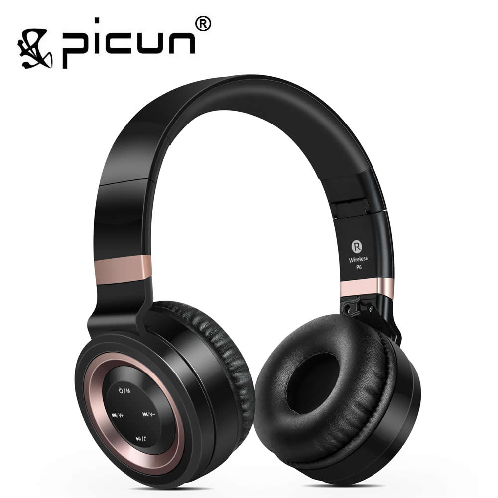 Picun P6 Wireless Headsets Bluetooth Headphones with Mic Support TF Card FM Radio for iPhone Samsung Xiaomi Huawei wireless bluetooth headphones music earphone stereo headsets handsfree with mic fm radio tf card slot for iphone samsung xiaomi