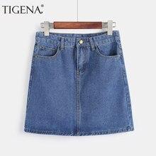 379dac3d6 TIGENA Mini Denim Falda mujeres falda de verano de 2019 de moda coreana  falda lápiz de
