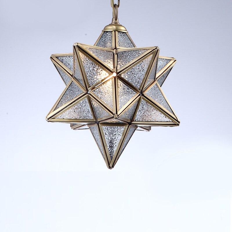 American multiangular pendant light balcony aisle lights bar European single head copper plated Thorn ball glass