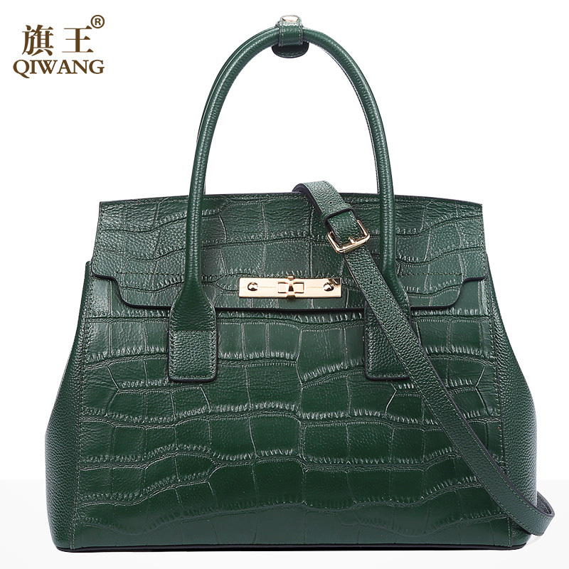 Qiwang Green Handbag Brand Design Women Crocodile Hand Bag Genuine Leather Bags Fashion Luxury Brand Tote Bag for Woman 2018 crocodile retro women bag luxury women design fashion retro leather tote handbag solid bucket bag design fashion bags